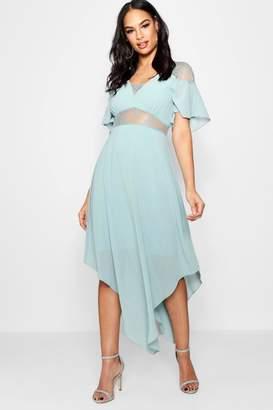 boohoo Boutique Lace Insert Hanky Hem Dress