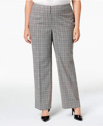Nine West Plus Size Plaid Trouser Pants