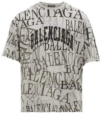 Balenciaga All Over Logo Print Cotton T Shirt - Mens - Grey