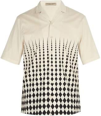 Bottega Veneta Cuban collar diamond print cotton shirt