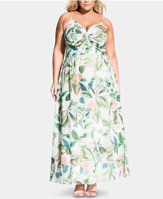 City Chic Trendy Plus Size Fresh Floral Twist Maxi Dress