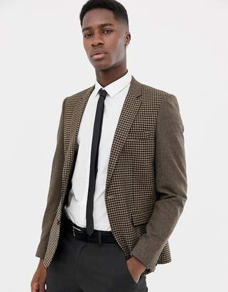 Asos DESIGN slim blazer in wool mix with tan cut and sew check
