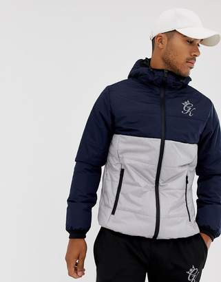 Gym King hooded puffer jacket in navy color block