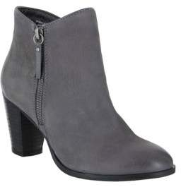 Mia Leather Stacked Heel Ankle Boots