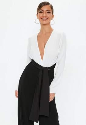 Missguided White Mono Sash Tie Bodysuit, White