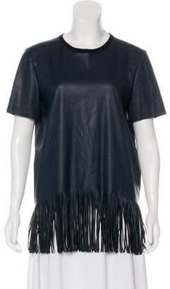 Cédric Charlier Faux Leather Fringe-Trimmed Top