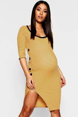 boohoo Maternity Rib Stripe Long Sleeve Button Up Midi