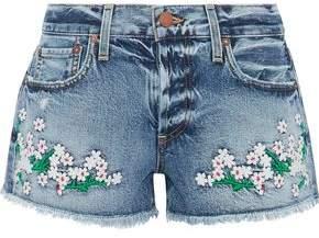 Alice + Olivia Embroidered Distressed Denim Shorts