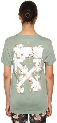 Off-White Logo Print Fitted Cotton Jersey T-Shirt