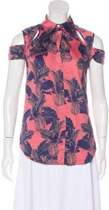Richard Chai Short-Sleeve Printed Top