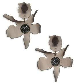 Lele Sadoughi Concrete Jungle Crystal Lily Clip-On Earrings