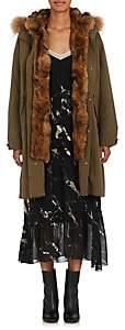 Pas De Calais Women's Fur Embellished Parka - Dark Green