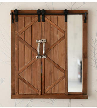 Vintiquewise Decorative Mirror with Sliding Barn Style Wood Rustic Shutters