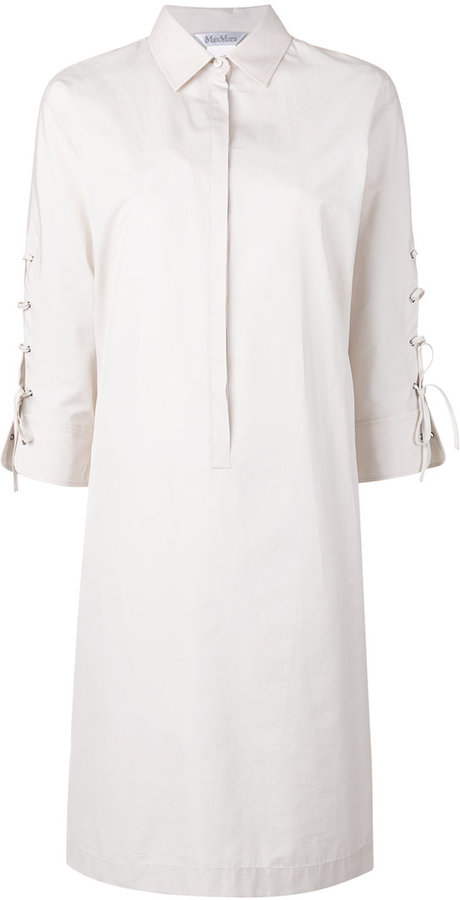 Max Mara Max Mara lace-up sleeves shirt dress