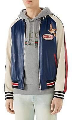 Gucci Men's Leather Logo& Bird Bomber Jacket