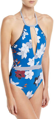 Red Carter Halter Plunge Keyhole One-Piece Floral-Print Maillot Swimsuit
