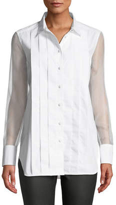 Equipment Jack Pleated Button-Front Long-Sleeve Semisheer Cotton Blouse