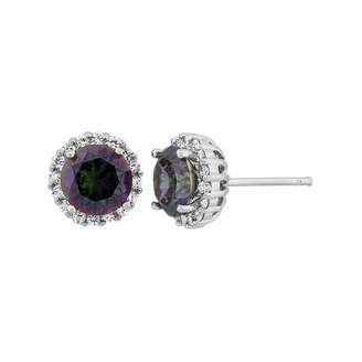 FINE JEWELRY Cushion Simulated Green Mystic Fire Topaz Sterling Silver Stud Earrings