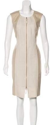 Lafayette 148 Leather-Trimmed Knee-Length Dress