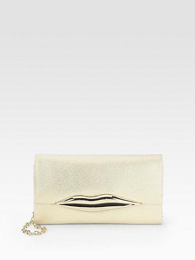 Diane von Furstenberg Carolina Lips Canvas Convertible Clutch
