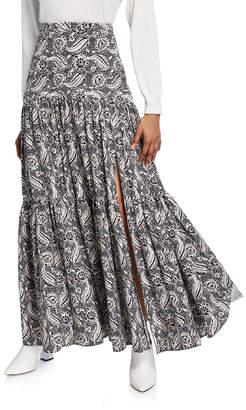 Veronica Beard Serence Printed Slit Maxi Skirt