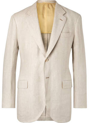 BEIGE P. Johnson Unstructured Herringbone Linen Blazer