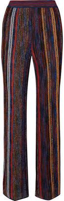 Missoni Striped Metallic Crochet-knit Wide-leg Pants - Red