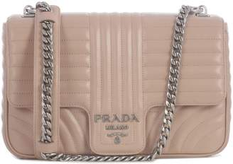 Prada Diagramme Soft Clutch Bag In Matelasse With Chain. Central Logo
