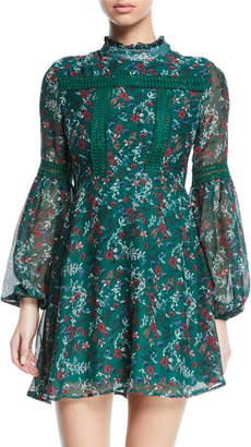 Free Generation Floral Balloon-Sleeve Fit-and-Flare Dress