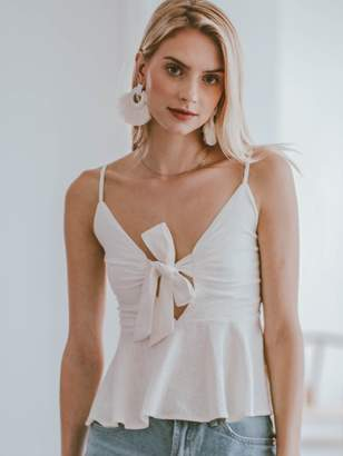 Goodnight Macaroon 'Kimberly' Tied Front Ruched Cami Top