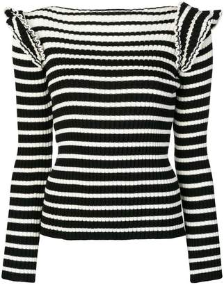 MSGM striped frill-shoulder knitted sweater