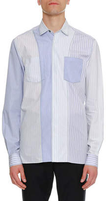 Lanvin Striped Pocket Sport Shirt