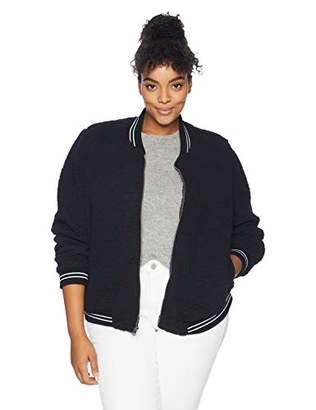 Lucky Brand Women's Plus Size ANAELISA Sherpa Bomber Jacket Black