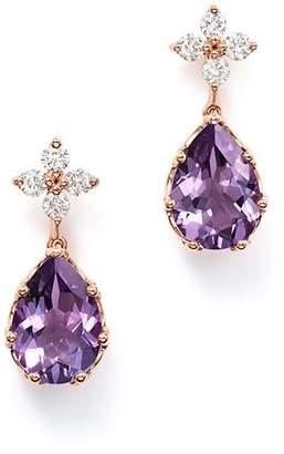 Bloomingdale's Diamond & Amethyst Drop Earrings in 14K Rose Gold - 100% Exclusive