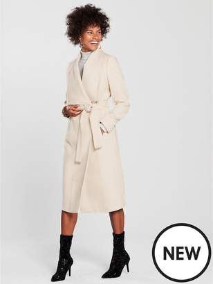 Wallis Twill Belted Coat - Cream