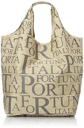 [ポルタフォルトゥーナ] PORTA FORTUNA ロゴプリント コンパクトショッピングバッグ 1566-01 ベ (ベージュ)