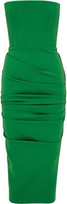 Alex Perry Mena Ruched Stretch-Crepe Midi Dress Size: 4