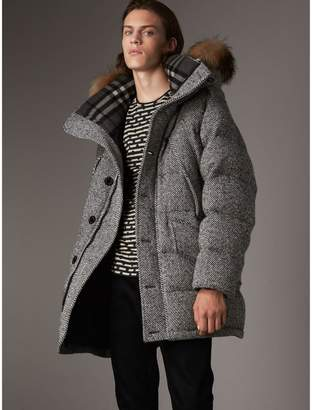 Burberry Detachable Fur Trim Hooded Down-filled Cashmere Parka