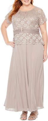 BLU SAGE Blu Sage Short Sleeve Embellished Top Gown - Plus