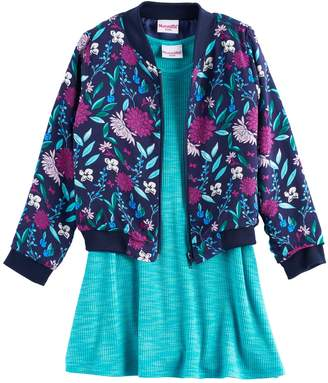 Nannette Girls 4-6x Floral Bomber Jacket & Skater Dress Set