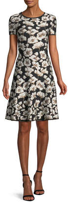 St. John Short-Sleeve Floral Jacquard Fit-and-Flare Dress
