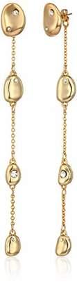 Halston H Women's Gold Pebble Linear Drop Earring