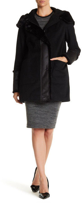 DKNYDKNY Hooded Faux Fur Wool Blend Coat