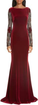 Badgley Mischka Embellished Sleeve Velvet Gown