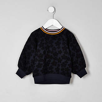 River Island Mini girls navy floral jacquard sweatshirt