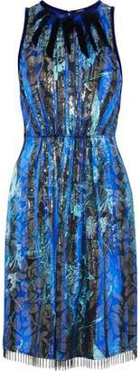Elie Tahari Demetria Embellished Metallic Floral-Print Silk-Blend Dress