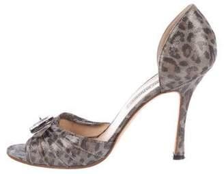 Manolo Blahnik Sedaraby Leopard Pumps
