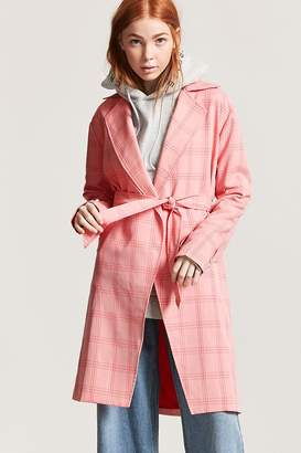 Forever 21 Plaid Trench Coat