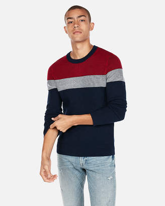 Express Color Block Stripe Crew Neck Sweater