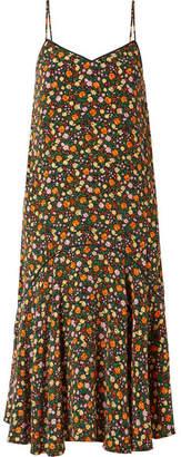 Ganni Joycedale Ruffled Floral-print Silk-crepe Midi Dress - Orange